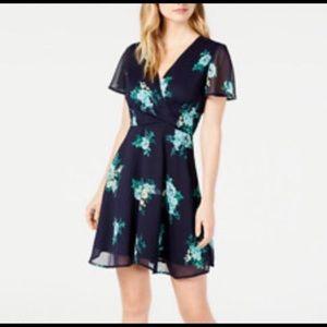 Maison Jules Printed Faux-Wrap Dress Floral 14